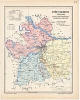 Győr vármegye térkép 1904, megye, Nagy - Magyarország, eredeti, Kogutowicz Manó, atlasz