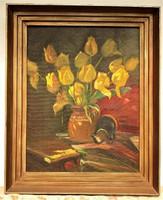 Dehény Lajos ( 1906-1952) Virágcsendélet c. olajfestménye 110x90cm EREDETI GARANCIÁVAL !