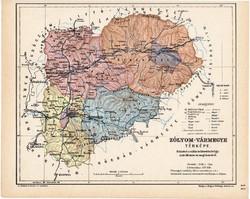 Zólyom vármegye térkép 1904, megye, Nagy - Magyarország, eredeti, Kogutowicz Manó, atlasz