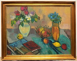 Doór Ferenc ( 19186-) Asztali csendélet c. képcsarnokos olajfestménye 90x70cm EREDETI GARANCIÁVAL !