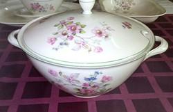 Antik , porcelán fajansz levesestál, Tielsch-Altwasser gyártmány