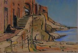 Ismeretlen festő: Tengerparti lépcső, pasztell