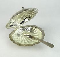 0R090 Kagyló alakú fém kaviáros tálka kanállal