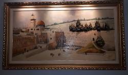 Jeruzsálemi siratófal zsűrizett olajfestmény 160 cm x 80 cm kerettel együtt.