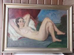 Boldizsár István /Orosháza,1897-1984 B.Pest/ Fekvő akt festménye  o.,v.,jbl.,keret,