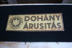 Dohányárusítás antik fémtábla