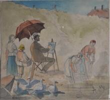 Ismeretlen művész: Festő a patakparton, akvarell