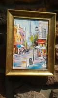 Hepp Natália: Olaj festmény, tájkép, utcakép, modern képkeret, Párizsi reggel