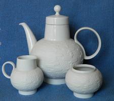 H&C Heinrich különleges matt fehér kávés, teás szervírozó 3 részes, kanna kiöntő