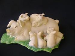 Egy kis ritkaság; Olasz nagy méretű porcelán koca mama 9 malackával