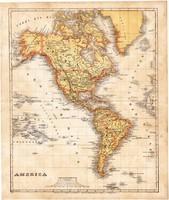 Amerika térkép 1871, lexikon melléklet, német nyelvű, eredeti