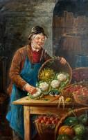 Számomra ismeretlen alkotó (lásd szignó): Zöldség árus