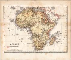 Afrika térkép 1871, lexikon melléklet, német nyelvű, eredeti