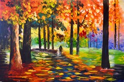 Leonid Afremov: Orange forest