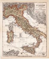 Itália (Olaszország) térkép 1871, lexikon melléklet, német nyelvű, eredeti
