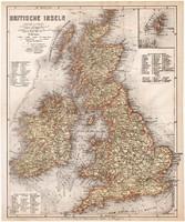 Brit - szigetek térkép 1871, lexikon melléklet, német nyelvű, eredeti, Nagy - Britannia, Írország