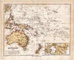 Ausztrália térkép 1871, lexikon melléklet, német nyelvű, eredeti, Óceánia, Új - Guinea, Új - Zéland