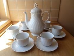 """Seltmann Weiden Bavaria """"Regina"""" 6 személyes fehér porcelán teás-kávés szett"""
