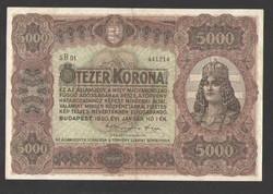 5000 korona 1920.  EF++!!  EXTRA ÁLLAPOT!!  RITKA!!