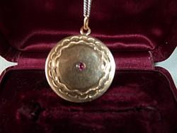 Antik 14k arany medál rubinnal, rókás