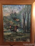 Tájkép, kortárs, eredeti olaj festmény Szentendréről, Mezei Sándortól, original oil painting