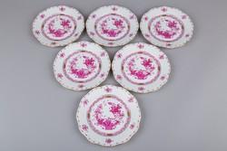 6db Herendi purpur indiai kosár mintás süteményes tányér