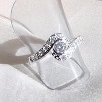Ezüst CZ cirkon köves gyűrű, (USA 7-es)