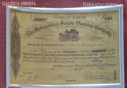 METROPOLITAN SALOON OMNIBUS 999.9 ARANY RÉSZVÉNY,EXKLUZÍV AUTÓ MODELL KÉP,LUXUS AJÁNDÉK,VITRIN DÍSZ
