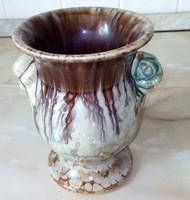 Csurgatott mázas Bay kerámia váza, 15 cm magas