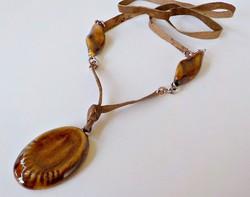 Egyedi kerámia medálos bőr nyaklánc