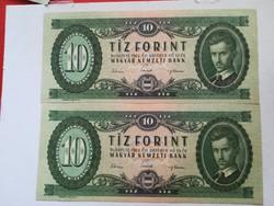 1962-es 10 Forint 2 db sorszám követő aUNC