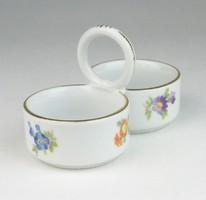 0R211 Régi Meisseni virágmintás porcelán sótartó