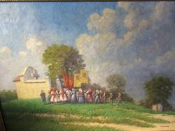 Nowinsky Jenő,Gellérthegyi körmenet,nagyméretű olajfestmény festmény,110x81cm