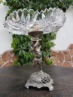 Puttó szobros, ólomkristály antik kínáló