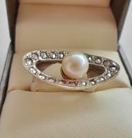 Különleges  markazit,valódi gyöngy ezüstgyűrű