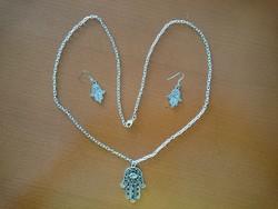Új ezüst színű hamsa, Fatima keze medál, nyaklánc és fülbevaló szett