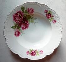 Régi Zsolnay rózsás fali tányér