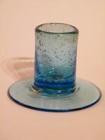 Retro skandináv (SIA) kék hólyagos üveg gyertyatartó