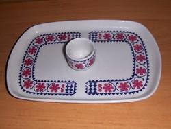 Retro Alföldi porcelán tálca egy pálinkás pohárral 16*24 cm (5/d)