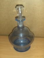 Retro kék színű üveg ital kiöntő kínáló palack dugóval (4/K)
