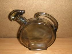 Nagyon ritka retro füstszínű üveg ital kiöntő kínáló palack (4/K)