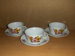 Alföldi porcelán teás csésze készlet aljjal 3 személyes (1/K)