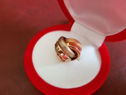14 K háromszínű arany csavart medál