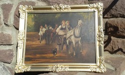 Zsuppán: Tájkép, olaj festmény, blondel képkeret, Lovas vágta