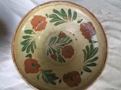 Tál - Nagyon . nagyon antik, FALRA AKASZTHATÓ tökéletes - hibátlan, mázas cseréptál 22 x 6 cm