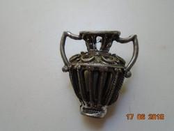 Vintage függő áttört ezüstözött kis kézműves fém váza-3,5 cm