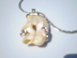 Hatalmas BIWA Igazgyöngy cirkónia kristályokkal medál +lánc