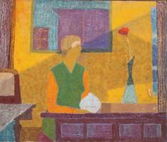 Fieber Béla (1926-2008): Nő rádióval és virággal