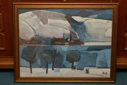 Bér Rudolf Tél olajfestmény Képcsarnokos keret nélkül