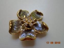 Tűzaranyozot zománc virág vintage bross markazitokkal
